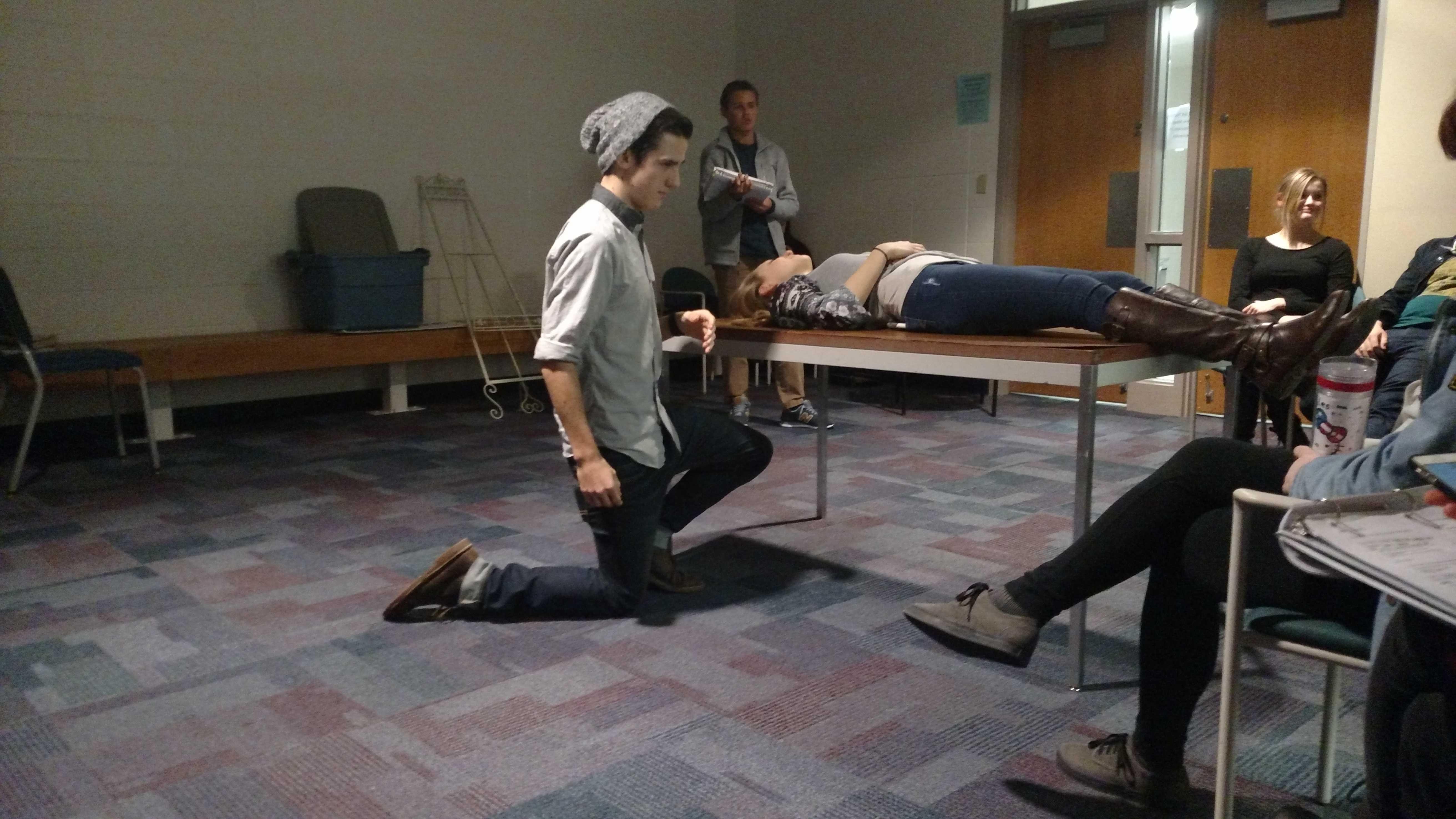Senior Aaron Guevara and Sophomore Anja Reese rehearse for