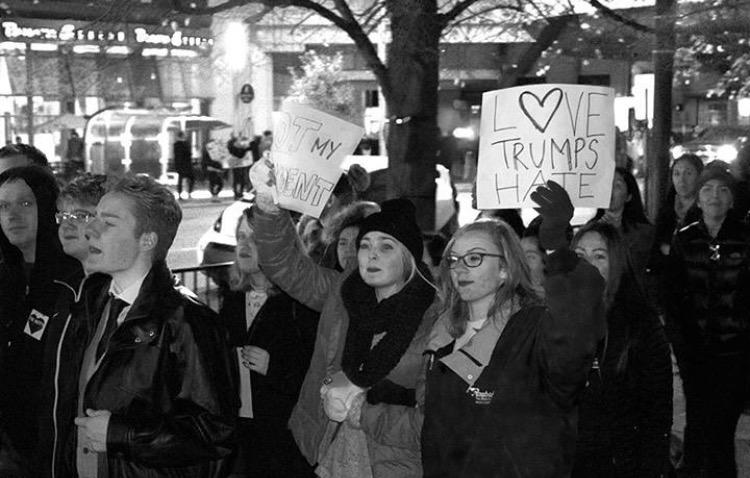 MARCHING+ON%3A%0ASenior+Emily+Pattyn+protests+along+with+others+at+the+anti-Donald+Trump+rally+on+Nov.+12.+%E2%80%9CI+don%E2%80%99t+know+how+to+get+%28Trump%29+to+see+what+Emily+Pattyn+wants%2C+but+I+think+having+him+see+the+struggles+people+go+through+%28is+positive%29%2C%E2%80%9D+Pattyn+said.