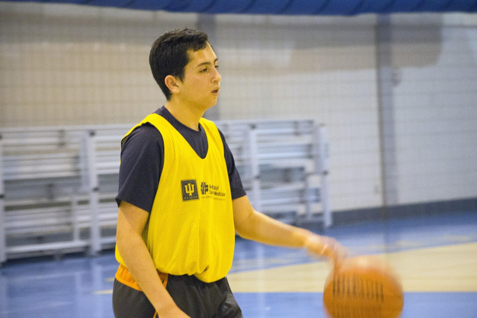 Hayden Silverman, intramural player and junior, participates in a intramural game on Feb. 6. Silverman's team is one of 42 participating in the intramural program this year.