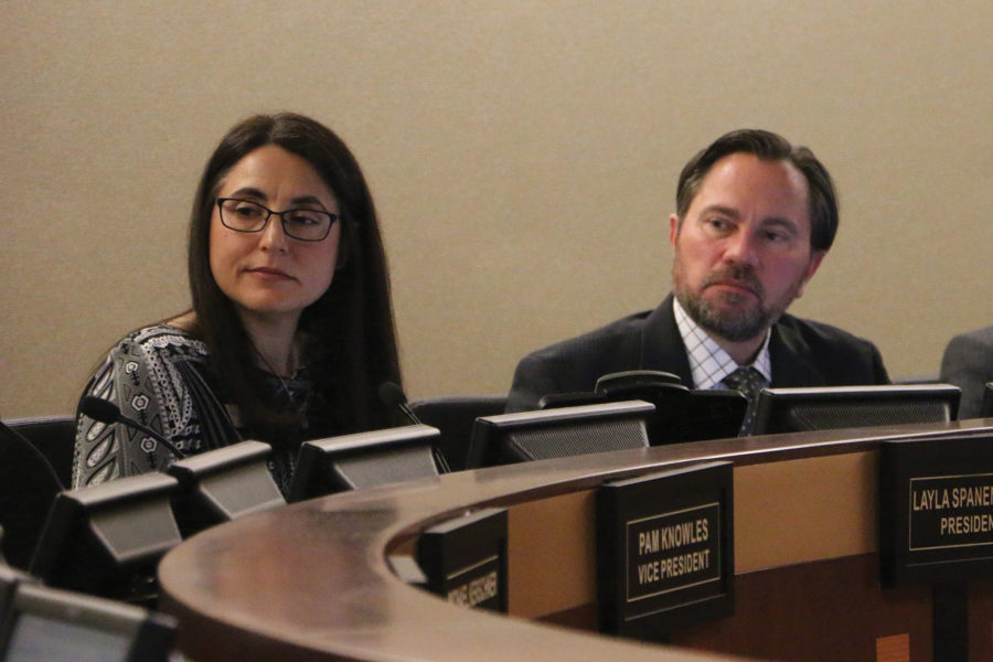 School+board+president+Layla+Spanenberg+and+Superintendent+Nicholas+Wahl+discuss+the+proposed+referendum.+Wahl+said+he+hopes+the+referendum+passes+to+preserve+funding+at+CHS.+