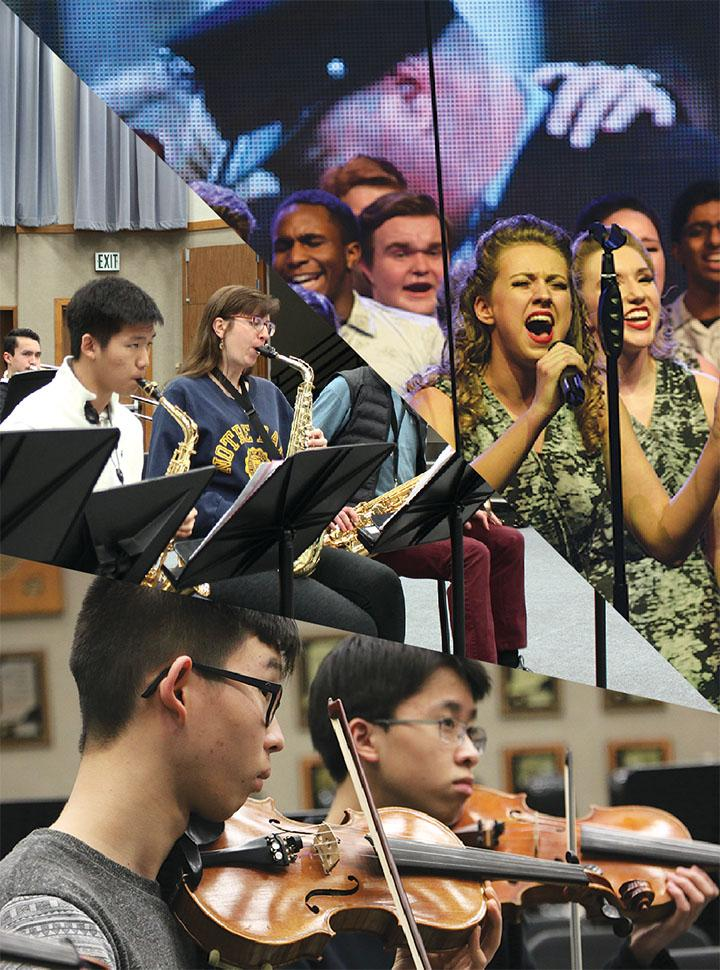 Members of the Ambassadors, Jazz Ensemble 1 and Camerata Orchestra perform and practice. These groups are comprised of the best musicians in the school.