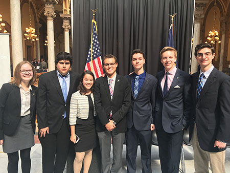 SAID IN THE STATEHOUSE: CHS students pose at their statehouse conference. Cole Ferguson, president of CHS Democrats and senior, said he believed marijuana should be legalized.