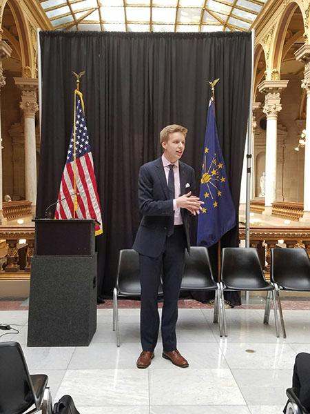 STUDENT POLITICIANS: Cole Ferguson, chairman of Indiana High School Democrats, executive board member of Indiana Young Democrats, CHS Democrats leader and senior, speaks at the statehouse during an Indiana High School Democrats program. Ferguson said marijuana should be legalized nationwide.