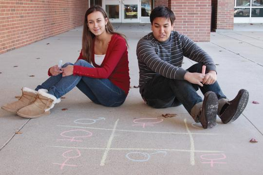 A MORE BALANCED EQUATION: Seniors Stephanie Pitman and Matthew Ong both plan to pursue careers breaking the stereotypes for their gender. Their interests reflect a movement towards increased gender equality. CONNER GORDON / PHOTO