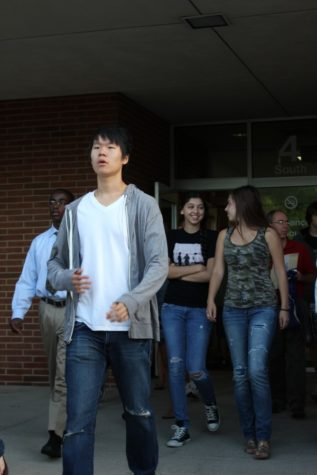 Students exit the building during a fire drill on Aug. 30. Indiana requires schools to have at least one tornado drill and one man-made occurrence drill per semester in addition to five fire drills during the school year. HENRY ZHU / PHOTO