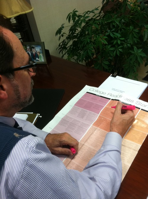 """Superintendent Jeff Swensson looks through a """"college readiness"""" standards chart from the ACT. Swensson said being able to address student scores in such tests and improve in areas is exactly what a state acknowledgement of """"high performing school district"""" status would allow. PATRICK BRYANT/PHOTO"""
