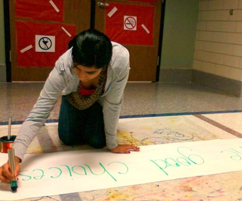 Shruthee Rajendran, LifeLines member and senior, writes on a banner at a work session on Dec. 1. The club created the banners as part of Pre-Winter Break Awareness Week, a campaign to promote making good decisions and staying safe during winter break. VICTOR XU / PHOTO