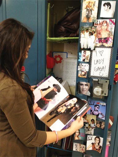 Senior Michelle Sanchez Parra poses with a photo of Lady Gaga. While she admits that her parents get annoyed with her love for Lady Gaga, she said they do not make her stop.