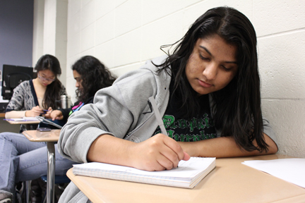 PLANNING AHEAD: Aghilah Nadaraj, vice president of Students for Education and senior, writes up plans for the club's next meeting. Nadaraj said the club has plans for a few other fundraisers this year, most notably Houndstock. HENRY ZHU / PHOTO