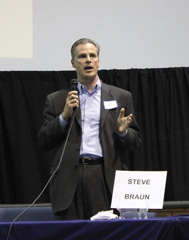 represent Us: Steve Braun, an Indiana state representative candidate, presents his views at a Republican debate. Students can vote for candidates such as Braun in the upcoming election. Henry Jackson / Photo