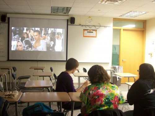 Film Club members enjoy popcorn and additional snacks while watching