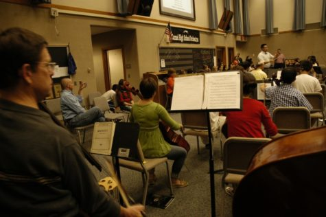 Indianapolis Symphony Orchestra members attend Symphony Orchestra rehearsal