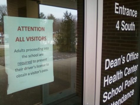 A sign at Door 4 informs visitors of the procedure required to enter the school, a sentiment echoed in the first monthly safety tip. The administration began the program as part of a schoolwide effort to keep school safety in the forefronts of students' and teachers' minds.