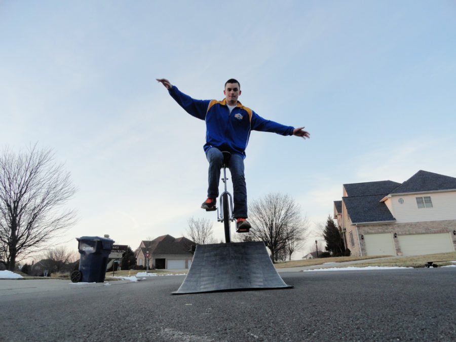 Freshman Dylan Benedetto rides his unicycle in his freetime