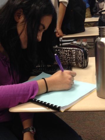Sophomore Kimaya Raje plans out her day on the back of her notebook so she can make time to attend the Anime Club meeting. According to Yanying Chen, Anime Club president and senior, the club is always looking for new members.  SREYA VEMURI / PHOTO