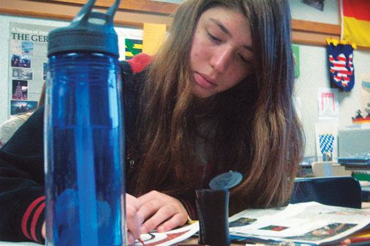 Sophomore Irene Georgiadis prefers to drink water instead of coffee. She said she does not think coffee is a healthy option. AINING WANG / PHOTO