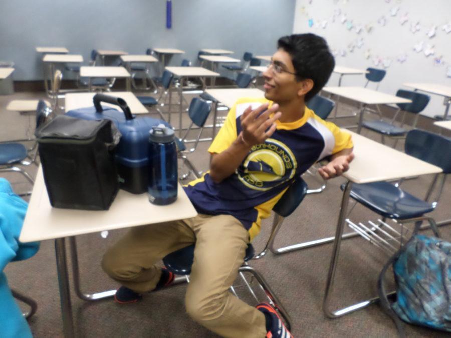 Aryaman Gupta sits in on an officer meeting Aug. 29.