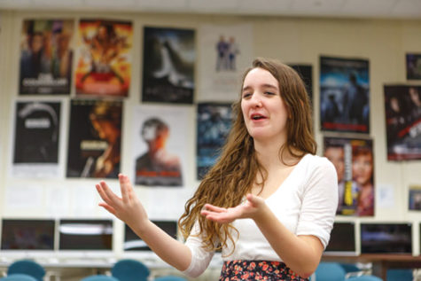 STUDIO FUN: In the Studio Theater, director and senior Kinsey Erickson directs rehearsal for the upcoming Studio One Acts.  The acts will include four one-act, comedic plays.