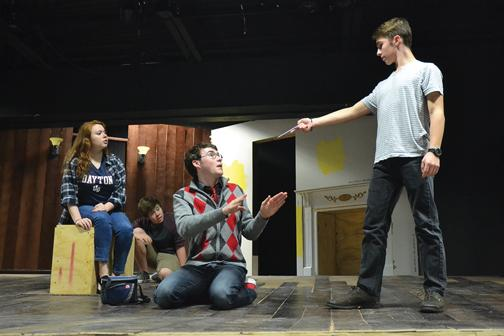 DO OR DIE: Senior Duncan Moran,  who portrays Jack Archer, points at senior Jack Coleman, who portrays Gloss. In this scene, the character Jack is deciding if he should kill Gloss.