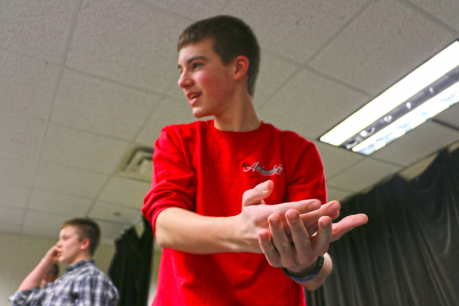 """Jacob Greene, ComedySportz member and sophomore, participates in a mock match with the rest of the team. Greene said the team members """"are prepared"""" for the first match on Feb. 19. JASON KLEIN/PHOTO"""
