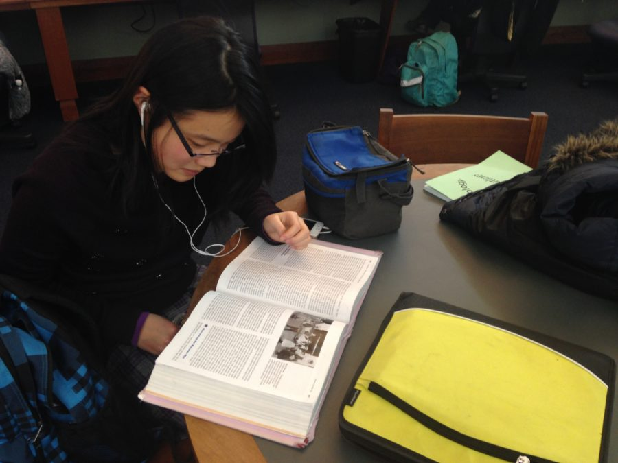 Olivia Wang, Symphony Orchestra member and junior, does her homework after school at the Carmel Clay Public Library. She said she always stays there after school before Tuesday orchestra rehearsals start at 6 p.m.