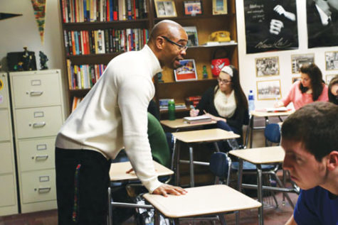 Kenneth Browner, U.S. History teacher and African American, teaches his class. Browner said that lack of diversity was a factor in his decision to come to CHS.