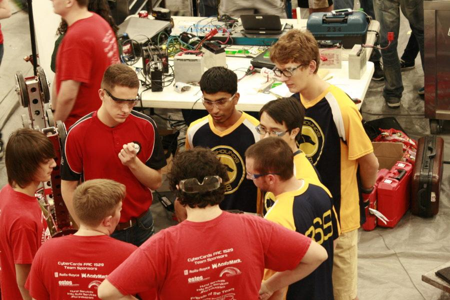 Caption:Aryaman Gupta, TechHOUNDS student team leader and junior talks to his fellow team members at competition. At the Feb. 17 competition, the team placed 6th overall. JESSICA TAO / PHOTO