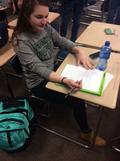 Senior Allison Krieger participates in class. Krieger said students should participate in events hosted by the Carmel Clay Public Library (CCPL).