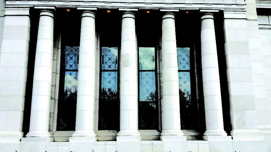Sets of glass windows adorn the sides of the Indianapolis Indiana Temple. The installation of these exterior windows began in June 2014, and it was completed in September of that year. ANNIKA WOLFF / PHOTO