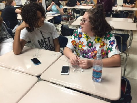 While attending a GSA meeting, Abbey Wiggam and Hallie Watson discuss new things they can do to participate in the club this year. The next club meeting will be on Sept 23 in B202. MANAHIL NADEEM / PHOTO