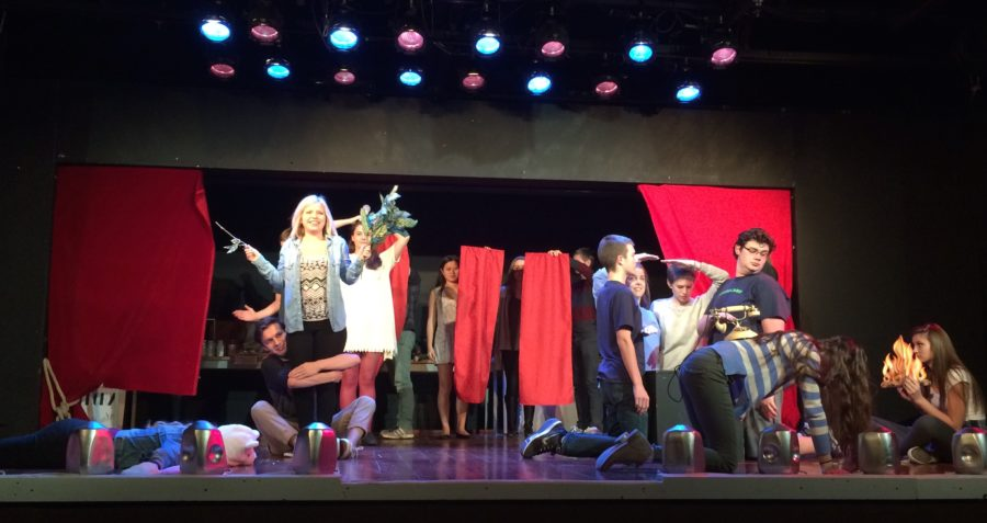 """The cast of """"The 39 Steps"""" takes their places as inanimate objects for the first scene of the fall production during a rehearsal. Performances run from Nov. 12 to the 14 and tickets are available on ticketracker.com. PHOTO / NYSSA QIAO"""