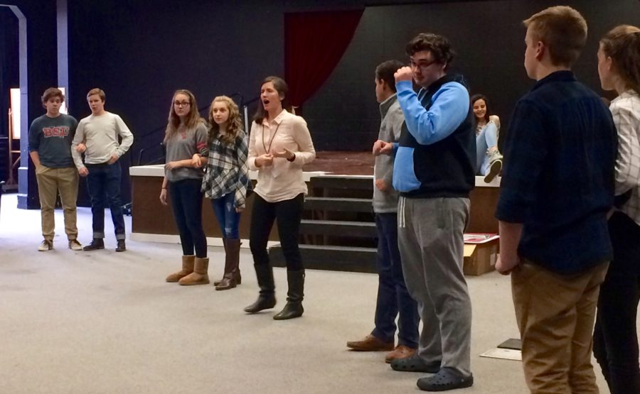 """The cast of """"Romeo and Juliet"""" plays amoeba tag as a warm-up for their rehearsal. The show runs from Feb. 11 to 13 and tickets can be purchased starting Jan. 13. NYSSA QIAO / PHOTO"""