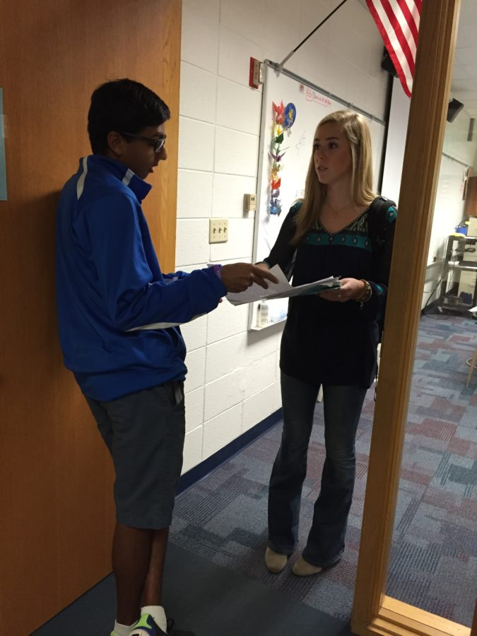 Senior senator Neil Shah discusses an event with student body president Mary Caltrider. Shah said he is excited to participate in his fourth and final CHS Dance Marathon on Feb. 27. EMMA LOVE// PHOTO