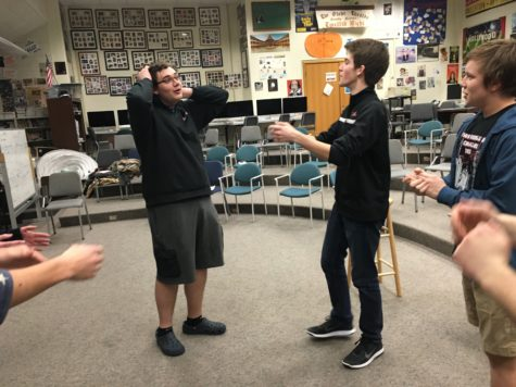 ComedySportz warms up before practice by playing a game called