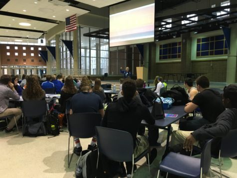 Students listen at morning FCA meeting. Plans for March Madness events are being made. PHOTO// KELLEY- PARMLEY