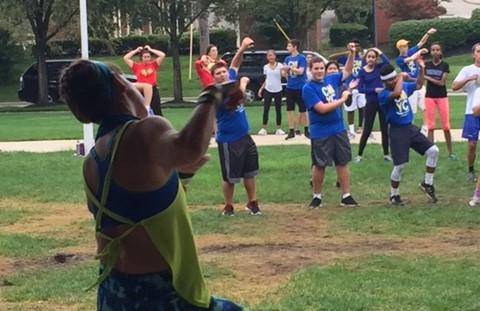 Carmel Mayor's Youth Council (CMYC) members lead community members at Zumba dancing. The CMYC will also help run a public dog festival on Aug. 27 at West Park. MELISSA YAP//PHOTO