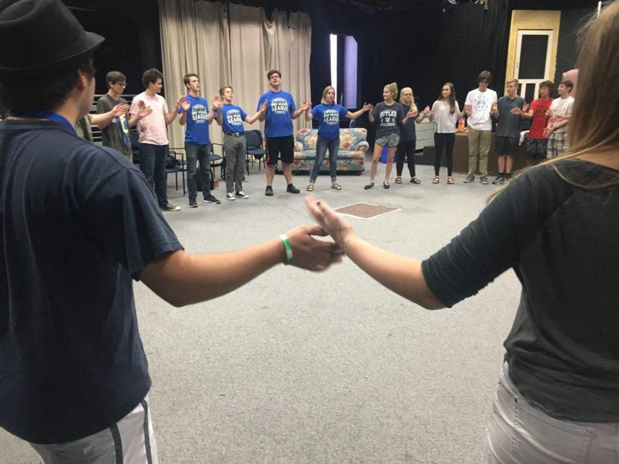 ComedySportz team members lead students in a workshop to help them prepare for auditions. Co-captain and senior Chuck Burton said,