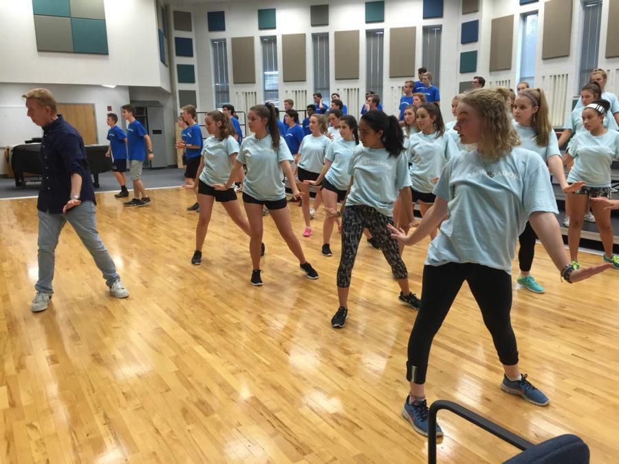 Ambassadors learn choreography for their fall concert. This will be the group's second performance since the Open House, and will take place on Sept. 28.