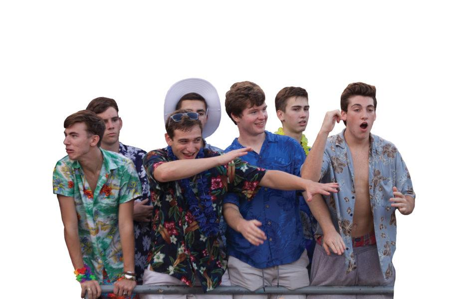 DAB IT OUT: CHS students cheer at the varsity football game against Hamilton Southeastern. Student groups like Big Game and Wild Bunch assist in planning student section events.