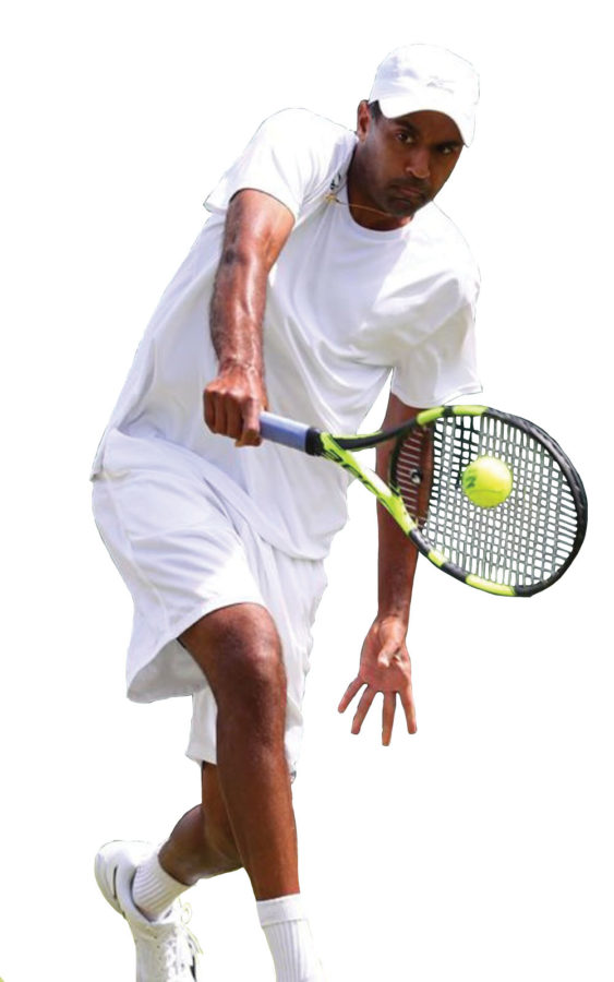 Rajeev Ram competes in a tennis match. Ram is CHS first Olympian.