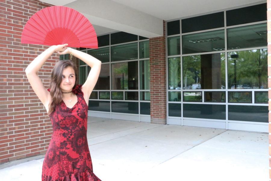 HERITAGE AWARENESS: Junior Natalia Trevino Amaro strikes a pose during her flamenco dance. She said she values not only her family, but staying in touch with her Hispanic culture as well.