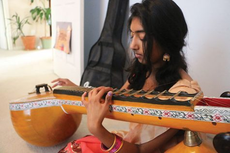 Senior Ananya Tadikonda plays the veena, a traditional Indian instrument, in celebration of Diwali. Diwali will take place on Oct. 30.