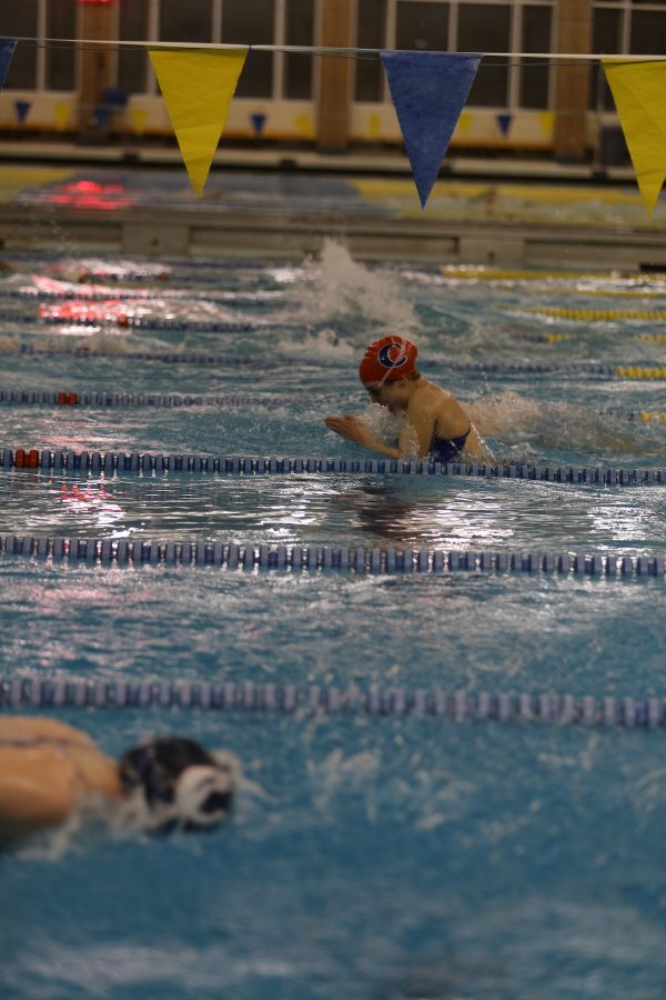 Sophomore Rachel Young swims during practice. The Greyhounds have a meet on Dec. 27 against Lawrence North High School, Hamilton Southeastern High School, and West Lafayette High School.
