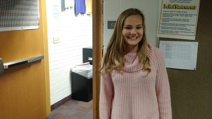 Emily Klingstein outside of her SRT room. Many Greyhound Connections members go to Mr. Stuelpe's Room (E219) for SRT.