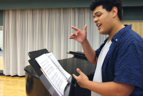 """Senior Jacob """"Jake"""" Letts practices his audition music. Letts will be singing """"My Defenses are Down"""" from the musical """"Annie Get Your Gun."""""""