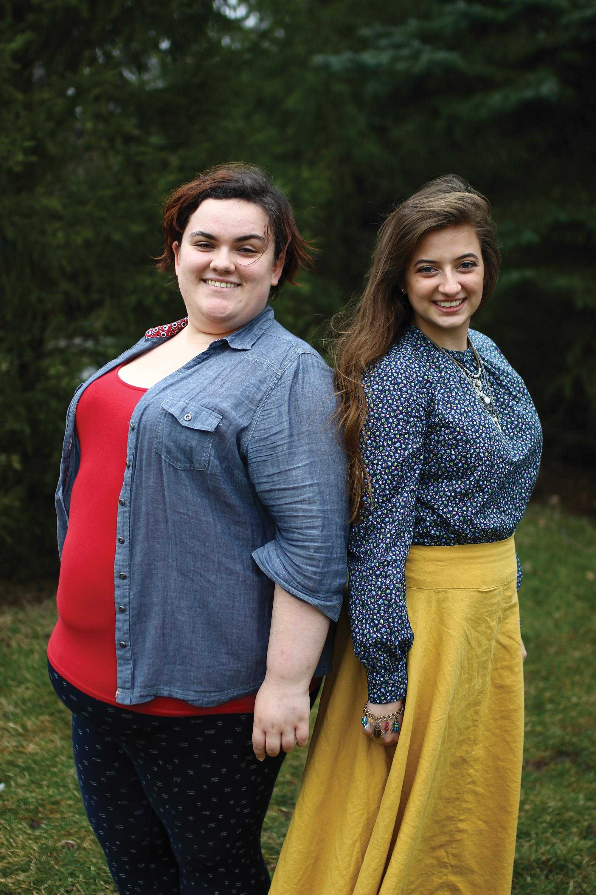 Senior Sarah Biette (left) poses in her plus-size clothing while senior Remi Meeker (right) poses in clothes she made and altered herself.
