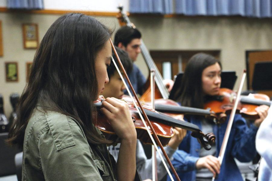 Camerata members rehearse during class. The players in this group are among the best in the entire school and balance literature for two ensembles.