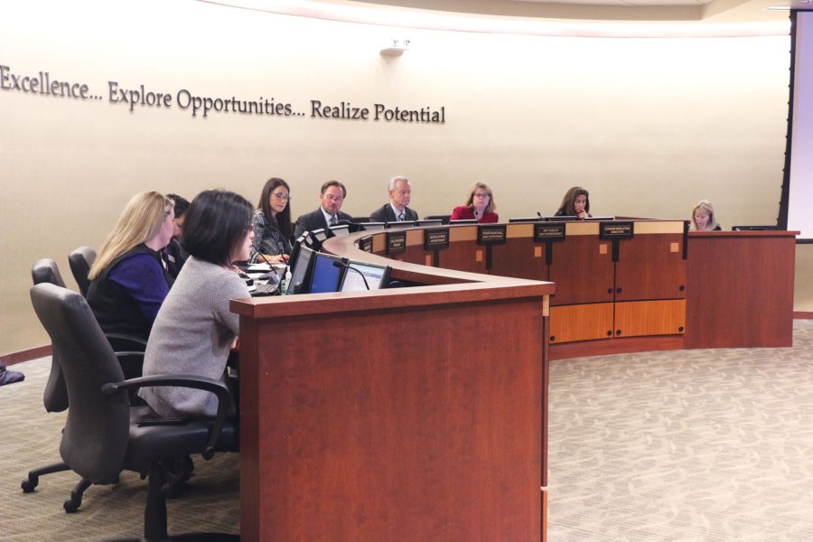DECISIONS, DECISIONS: The Carmel Clay School Board discusses issues regarding the district on its Feb. 27 meeting. Board president Layla Spanenberg said DeVos's support for vouchers may present funding problems for public schools like the Carmel school system.
