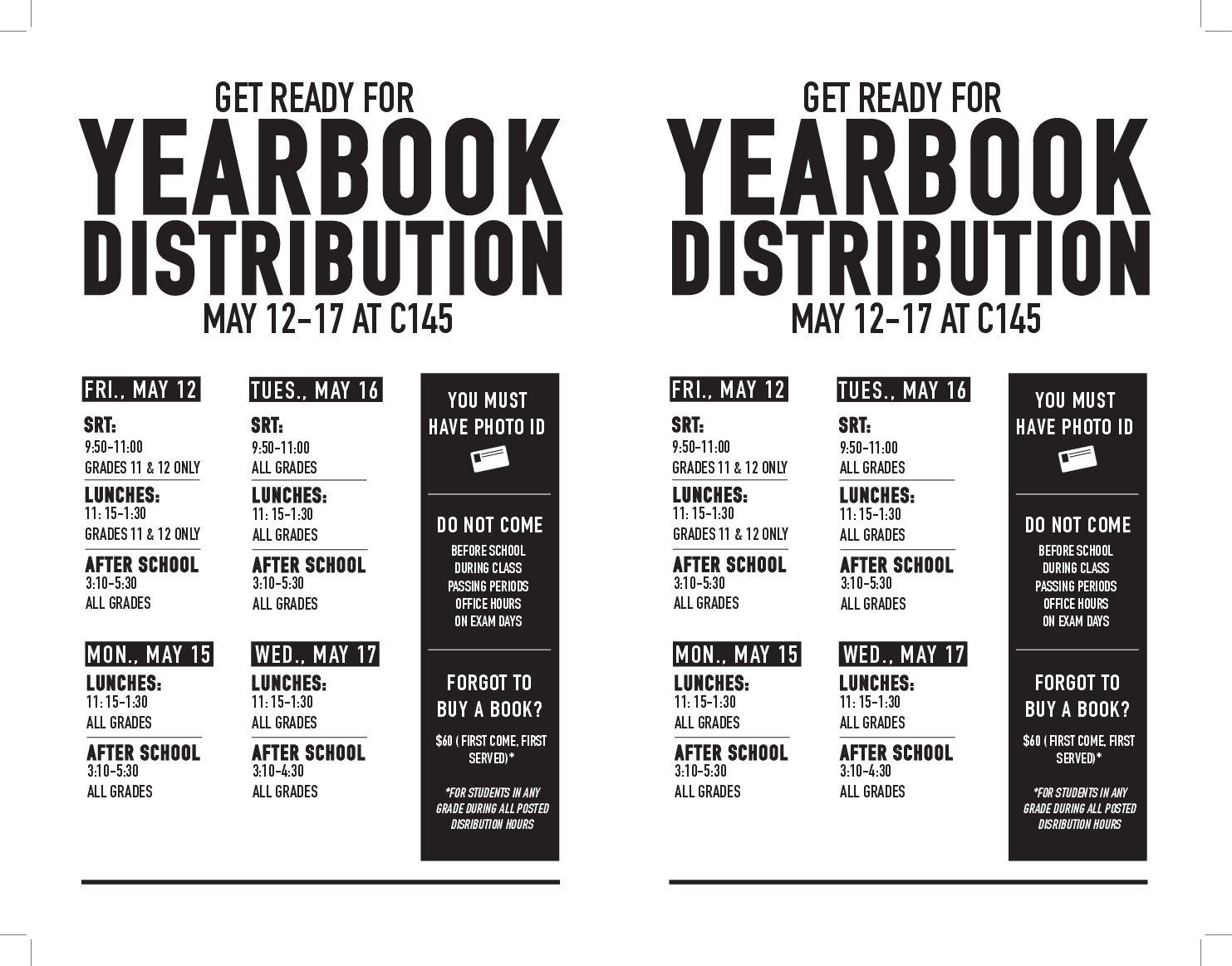 The distribution schedule provided by Yearbook staff.