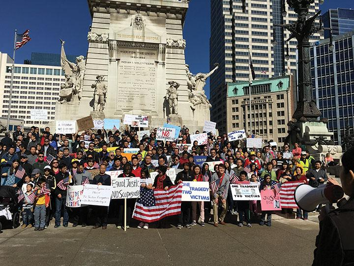 The protesters gather at the Soldiers' and Sailors' monument before the protest. Ma said this experience ultimately helped him realize the importance of standing up for his heritage.